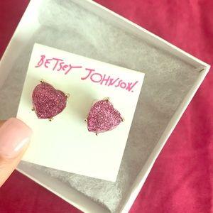 Pink Heart -Gold Trimmed - Betsey Johnson Earrings